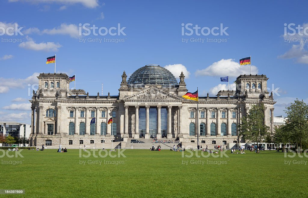 Reichstag with people, Berlin stock photo