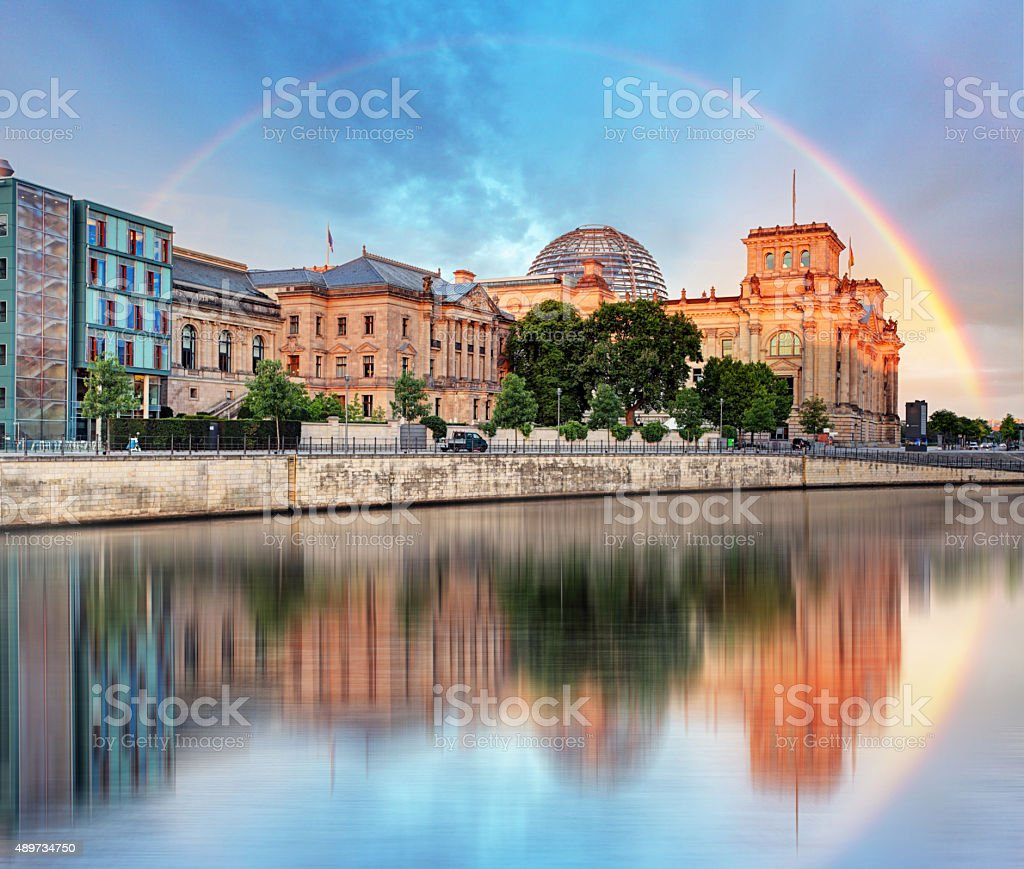Reichstag with rainbow, Berlin stock photo