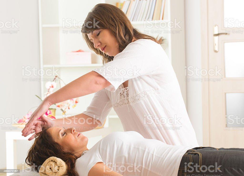 Reiki healing stock photo