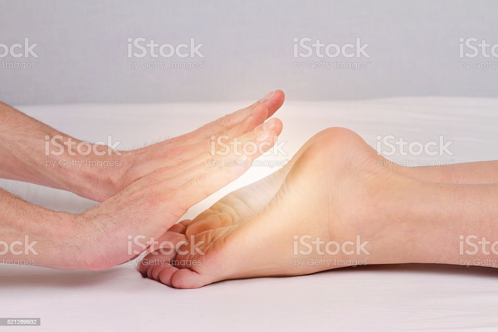 Reiki healing treatment , alternative  medicine concept. stock photo