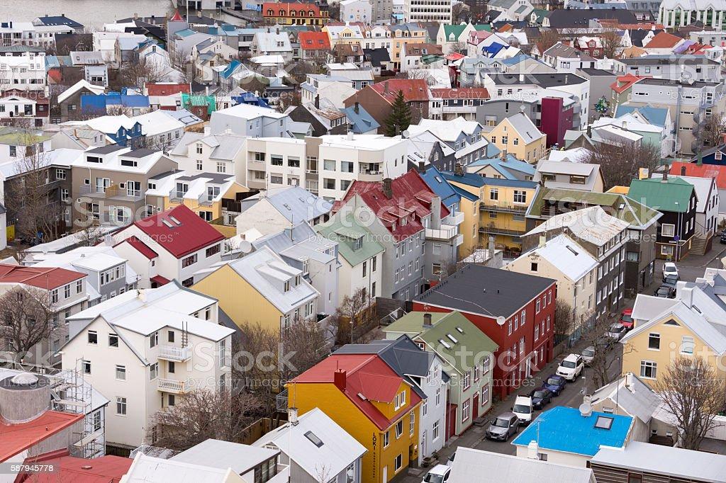 Reikjavik houses stock photo