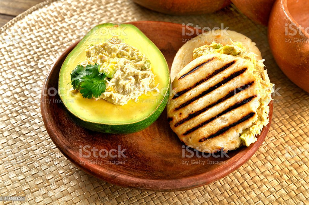 Reina Pepiada Arepa traditional dish in Venezuela. stock photo