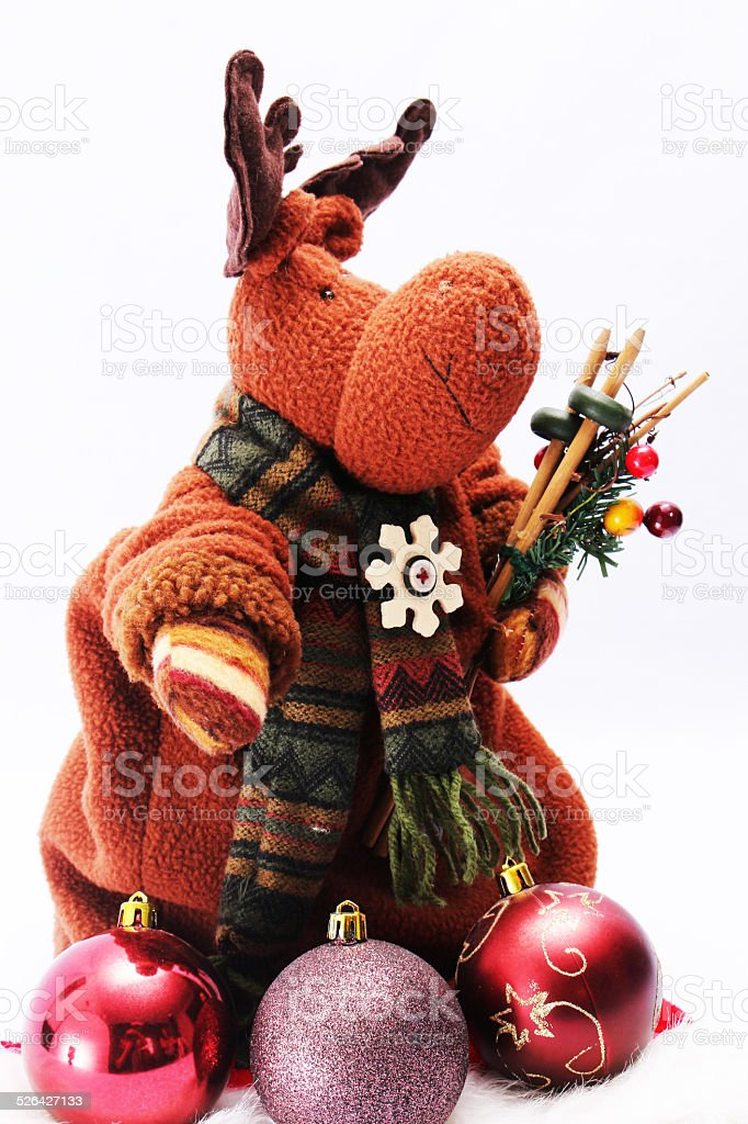 Reindeer and balls vertical stock photo