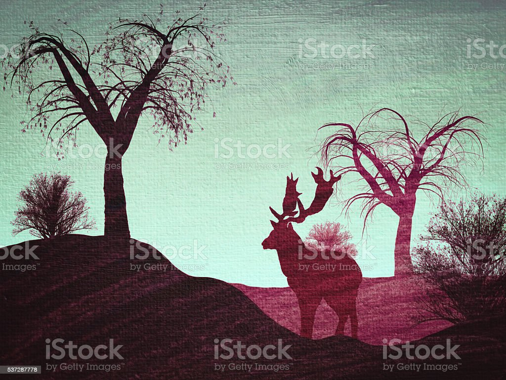 Reindeer in a forest stock photo