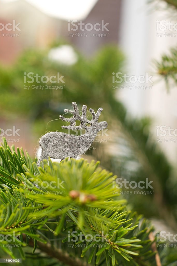 Reindeer on Christmas Tree royalty-free stock photo