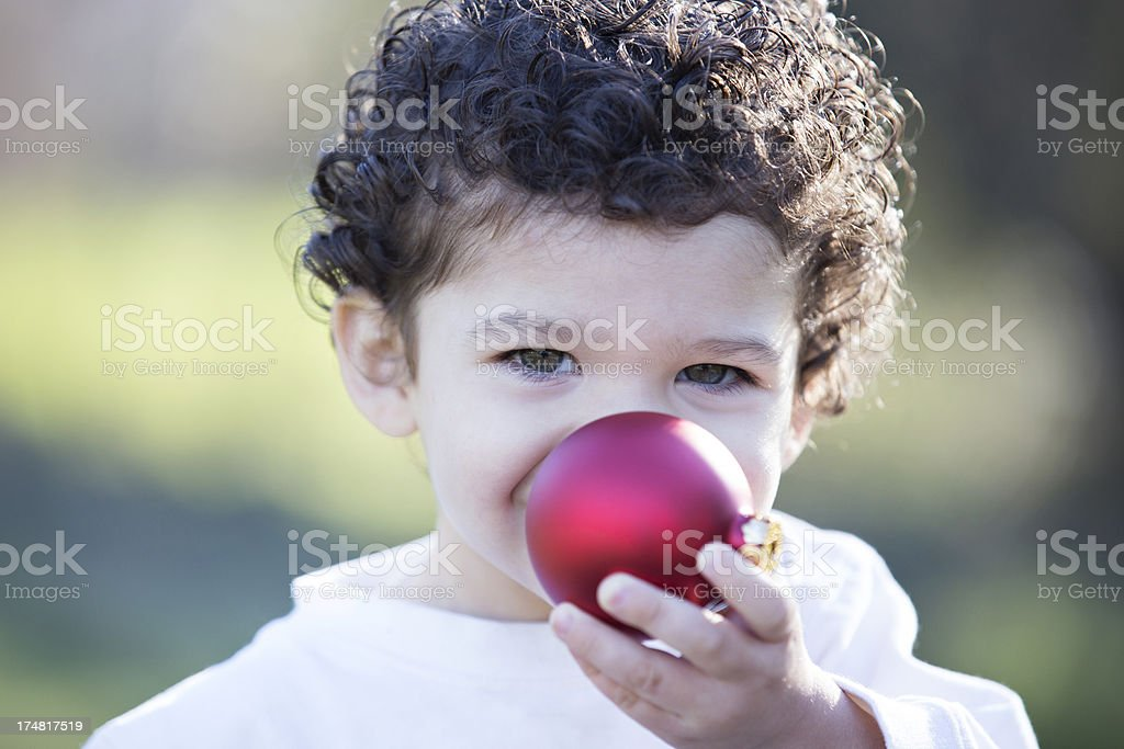 Rudolph the Red Nosed Toddler stock photo