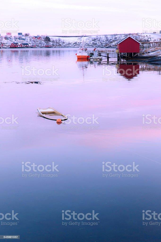 reine calm landscape-lofoten stock photo