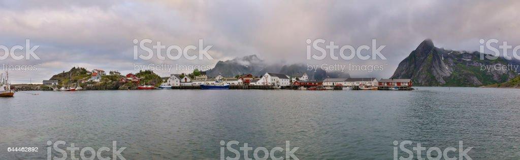 Reine Cityscape Summer 2016, Lofoten, Norway, North Europe stock photo