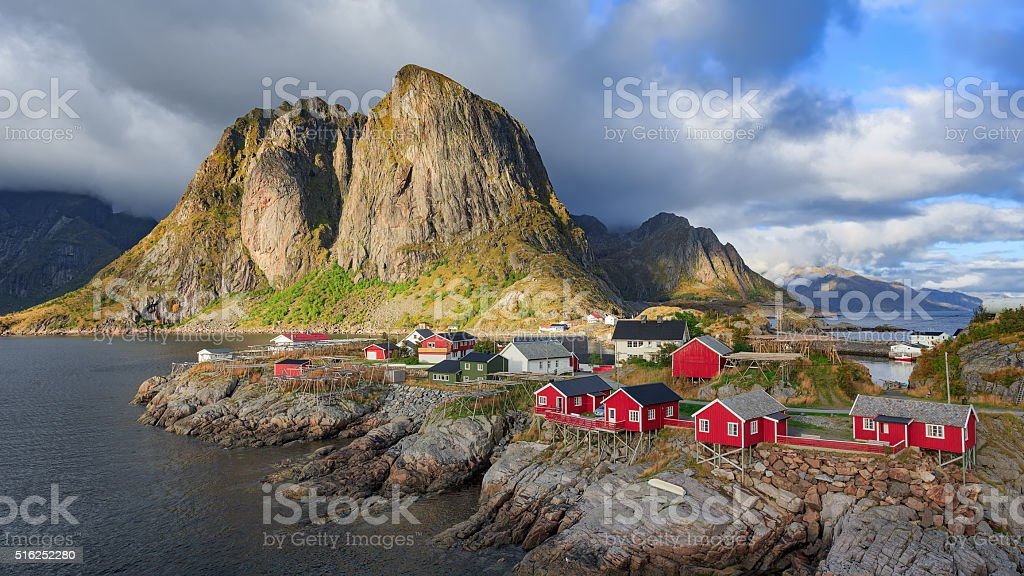 Reine fishing village at Lofoten Islands, Norway stock photo