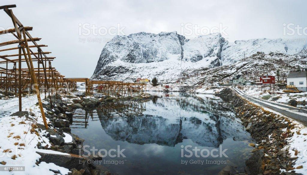 Reine fishing village, Lofotens stock photo