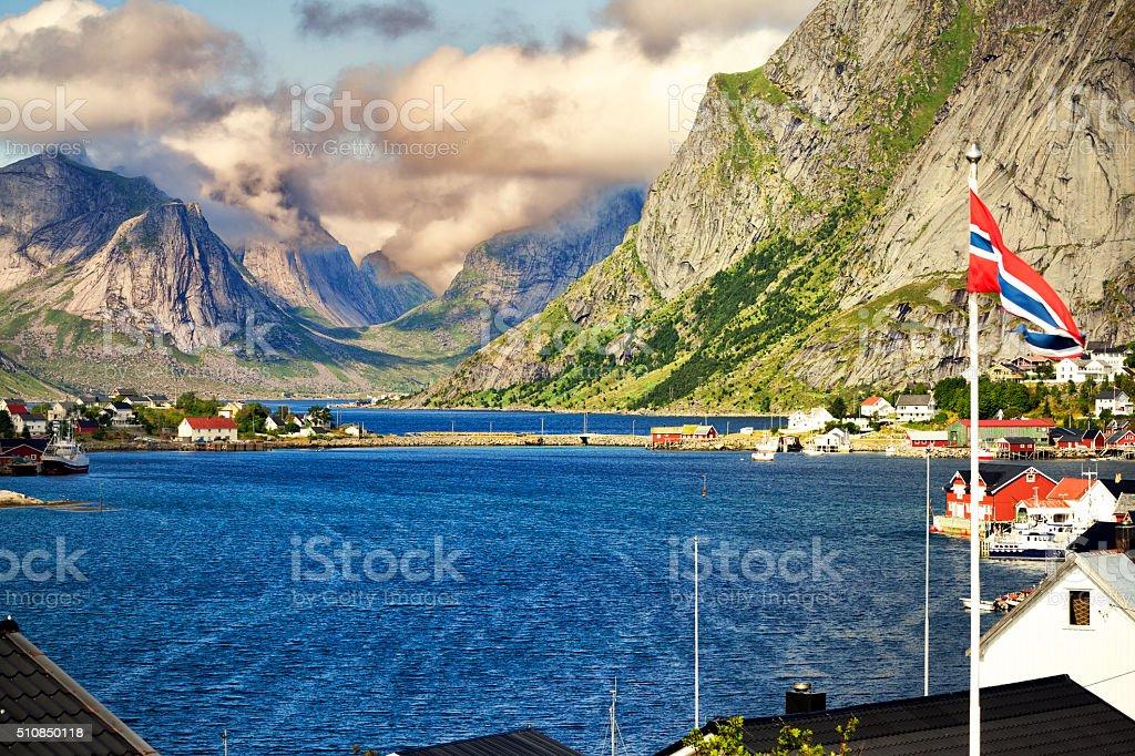 Reine - Norway village in sea, Lofoten stock photo