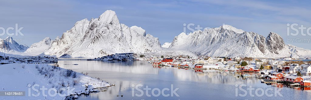 Reine, Norway Winter Panorama royalty-free stock photo