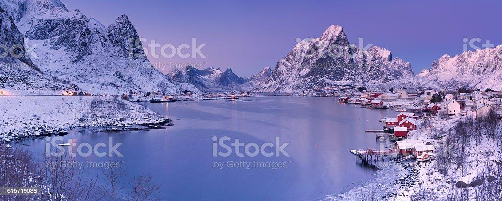 Reine on the Lofoten islands in northern Norway in winter stock photo