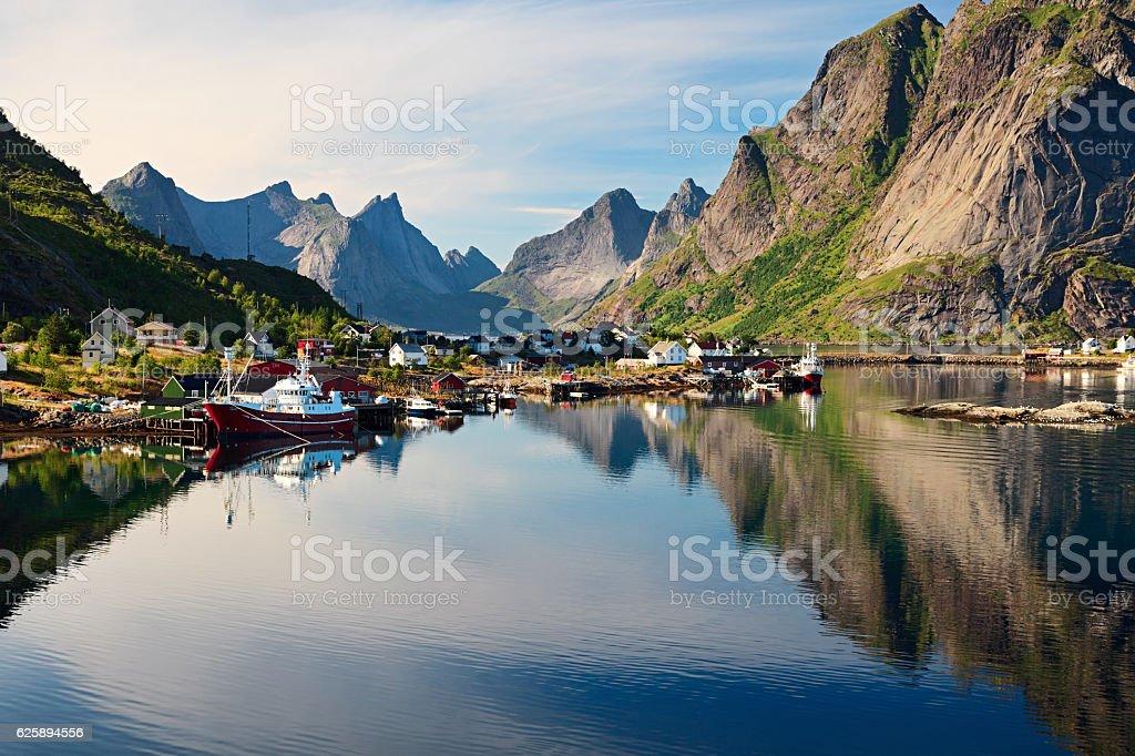Reine, picturesque Norwegian fishing village in Lofoten Islands stock photo