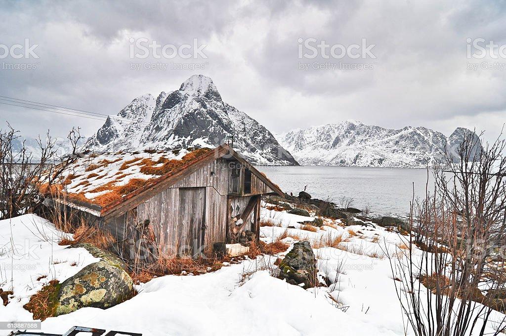 Reinebringen Mountain in Reine, Lofoten stock photo