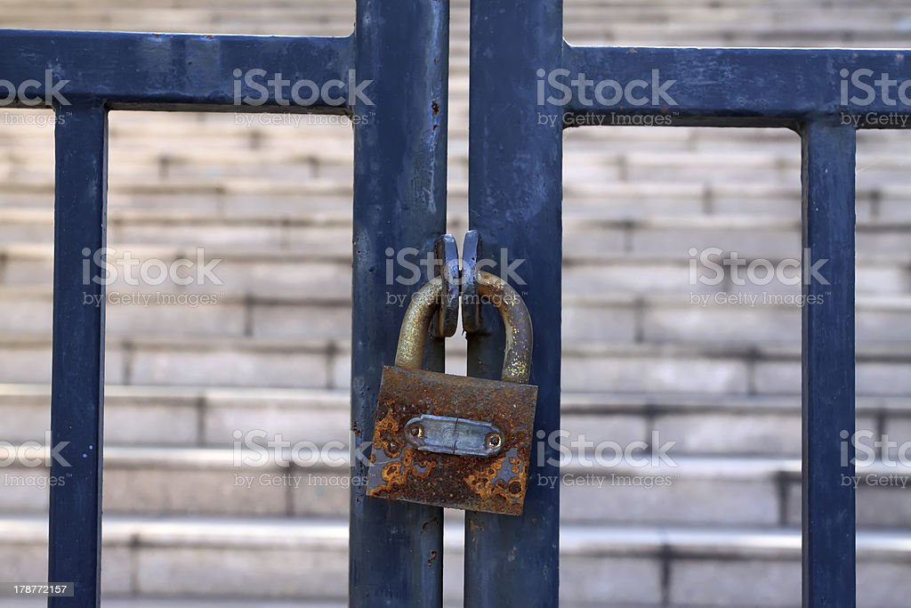 reinforced bars in a near the gate royalty-free stock photo