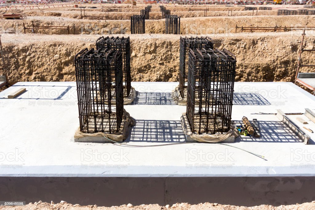 Reinforced concrete foundation stock photo
