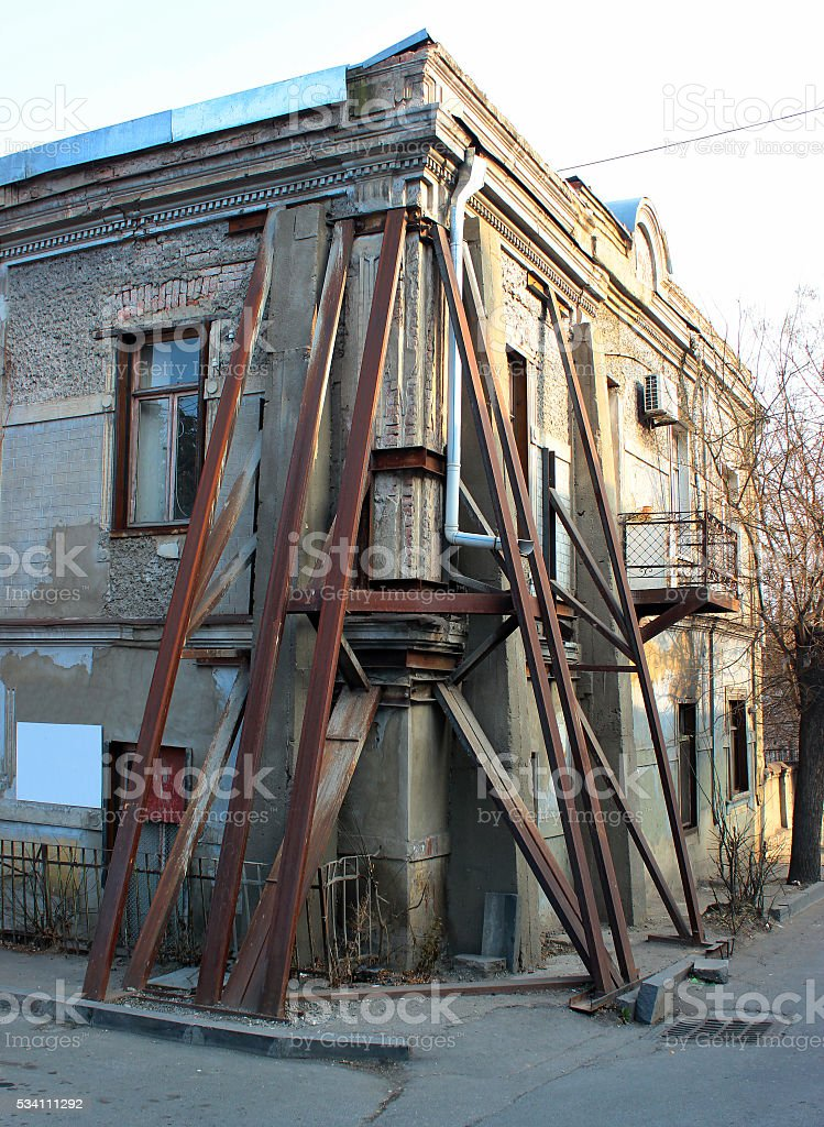 Reinforced corner of old house, Tbilisi, Georgia stock photo