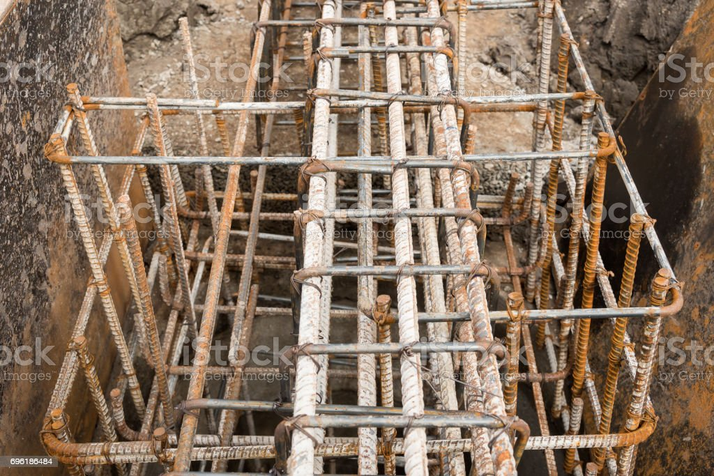 Reinforcement steel bars for building. stock photo