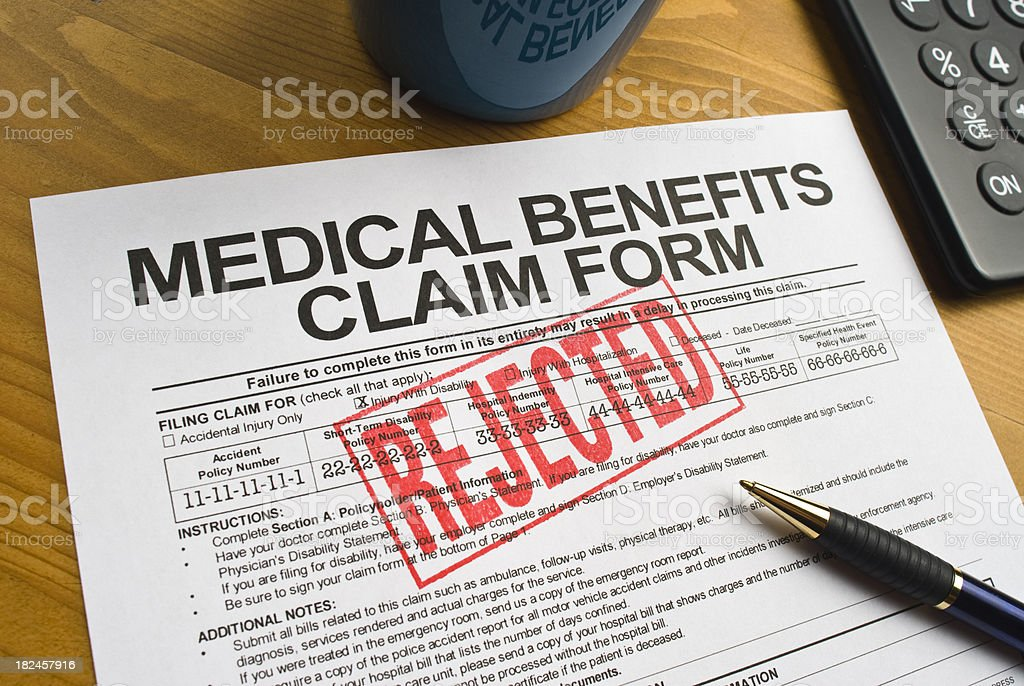 Rejected Benefits Claim Form royalty-free stock photo