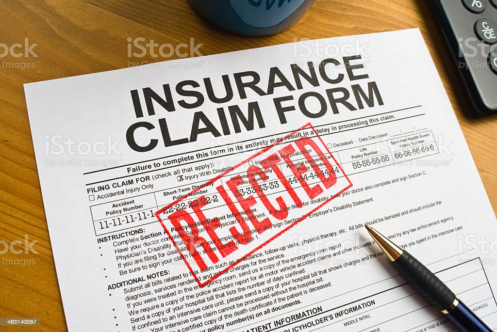 Rejected Insurance Claim Form stock photo