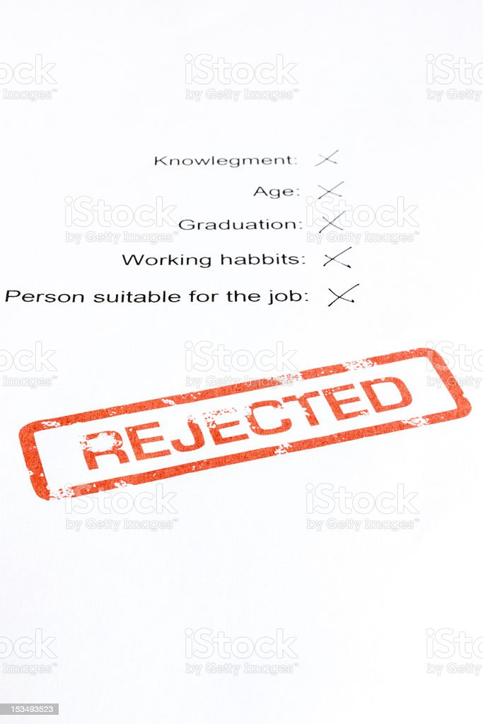 Rejected job interview report card royalty-free stock photo