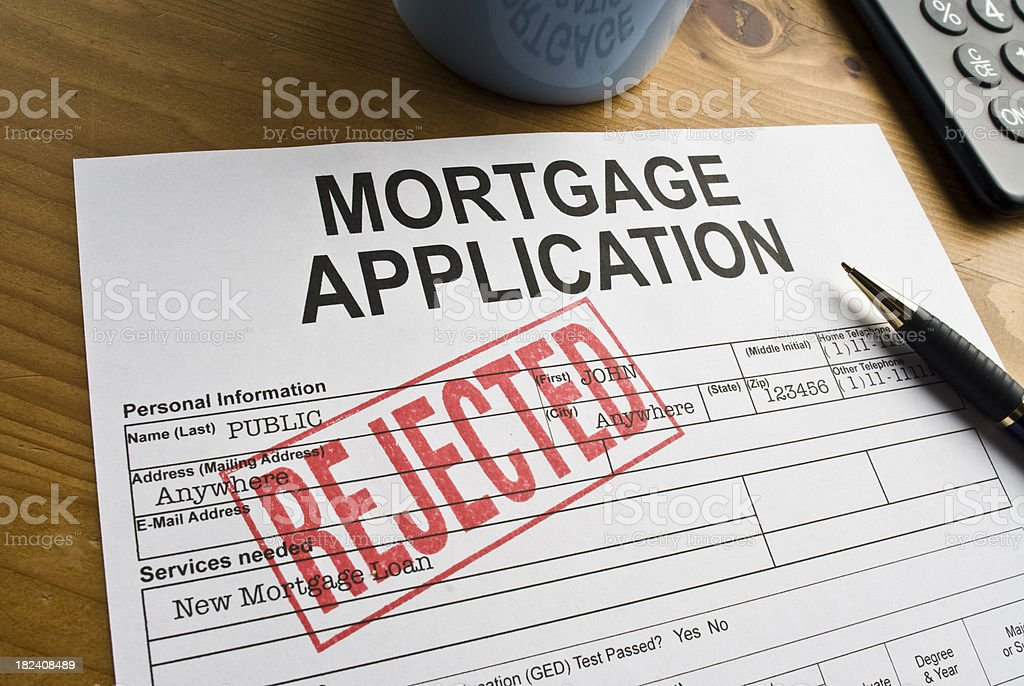 Rejected Mortgage Application stock photo
