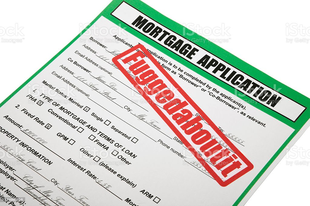 "Rejected Mortgage Application with Italian American slang ""fuggedaboutit"" royalty-free stock photo"