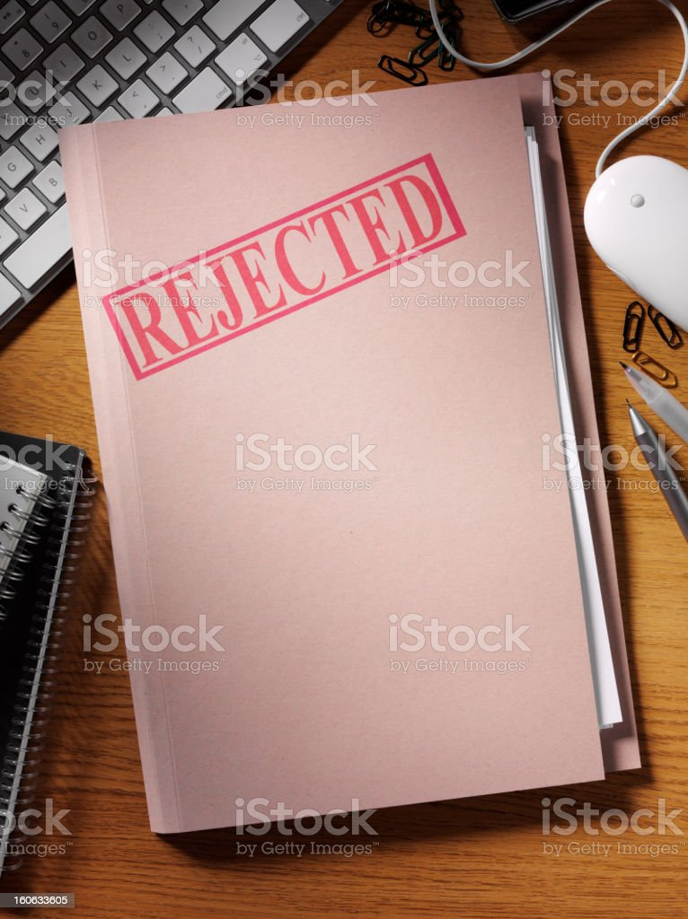Rejected Stamped on a File royalty-free stock photo