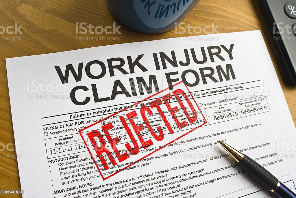 Rejected Work Injury Claim Form royalty-free stock photo
