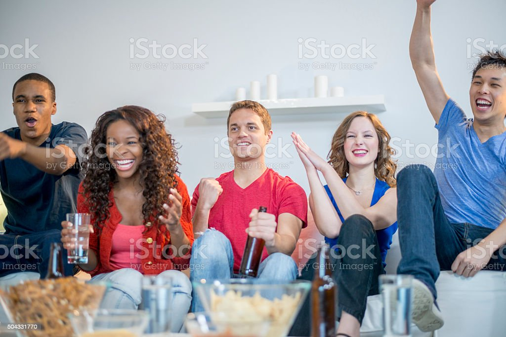 Rejoicing During the Game stock photo