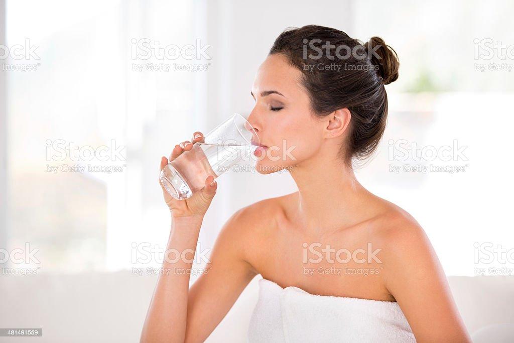 Rejuvenating her skin stock photo