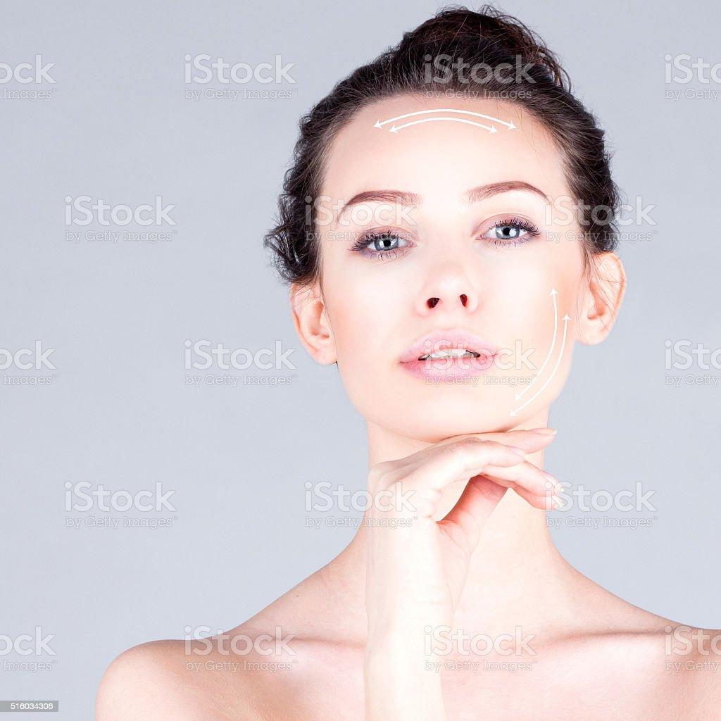 Rejuvenation program. Lifting skin. Portrait of beautiful woman stock photo