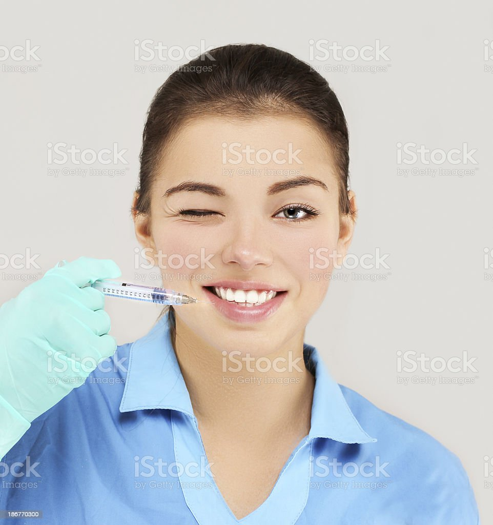 Rejuvenation.Prepare to Injection of beauty products royalty-free stock photo