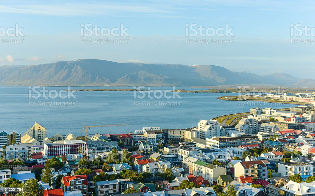 Rekjavik city view from above stock photo