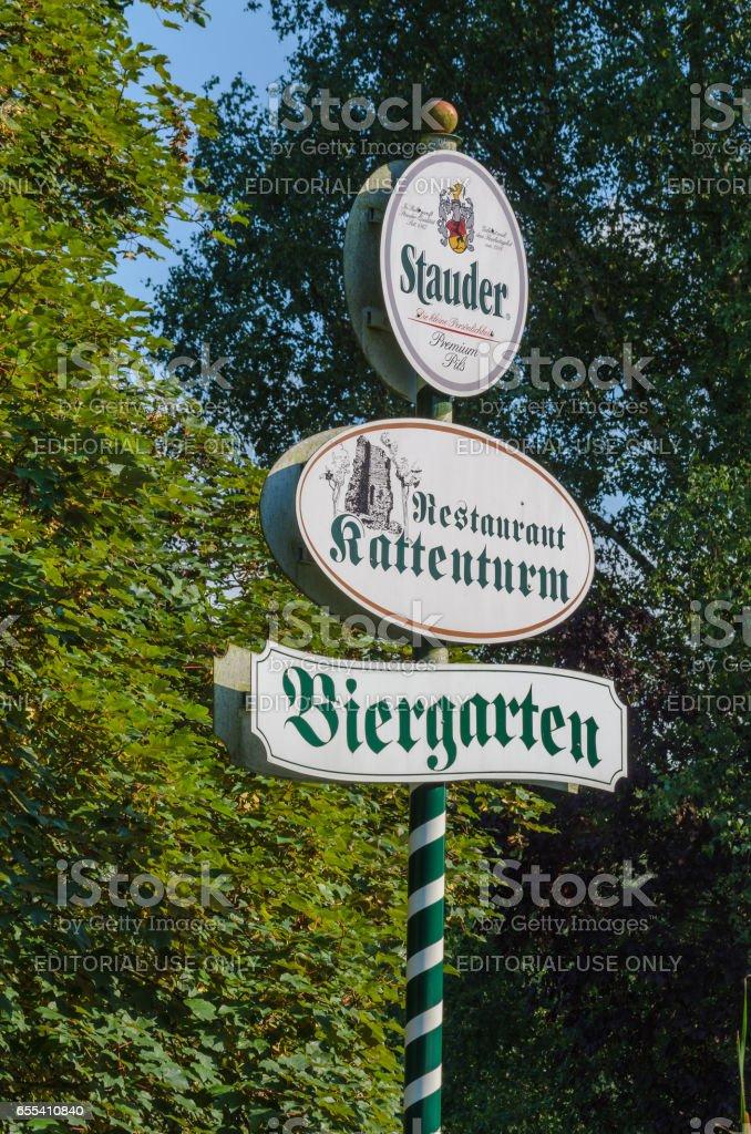 Reklameschild in Essen Stadtteil Kettwig Am Kattenturm. stock photo