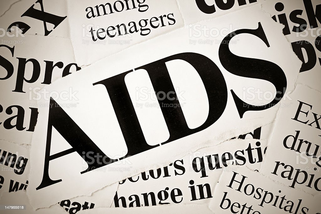 AIDS related newspaper headlines royalty-free stock photo