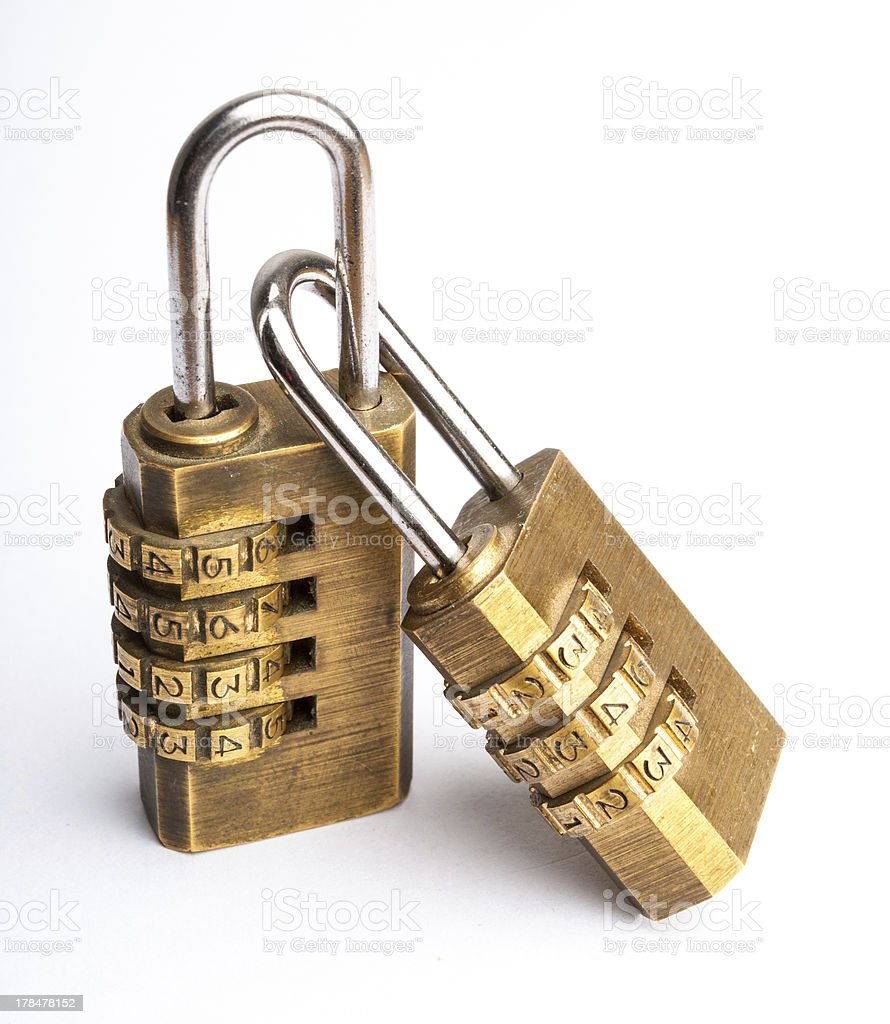 Related pair of golden code master key stock photo