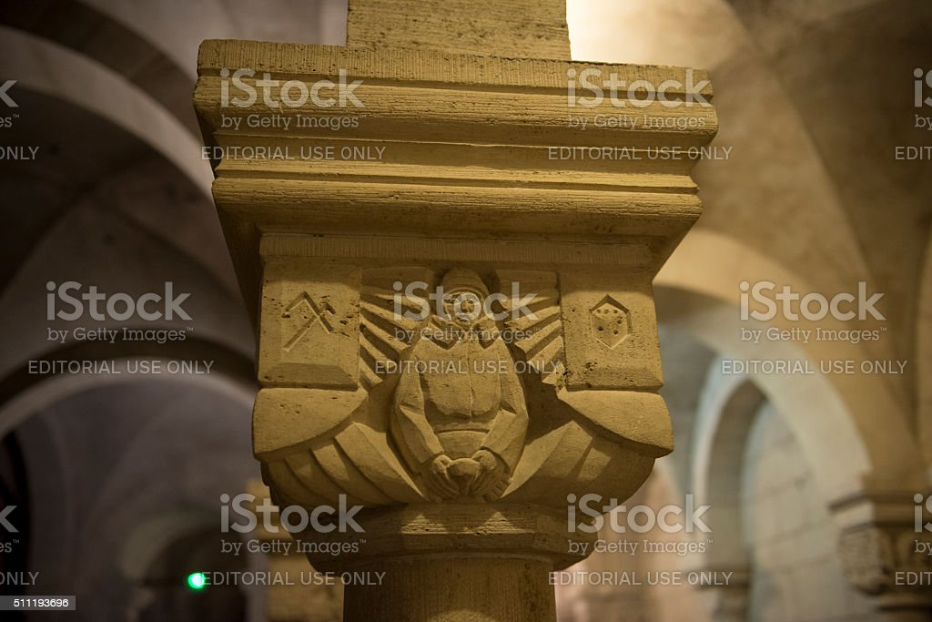 WWI related relief sculpture in crypt of Verdun Cathedral, France stock photo