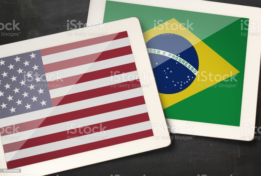 Relationship between USA and Brazil stock photo