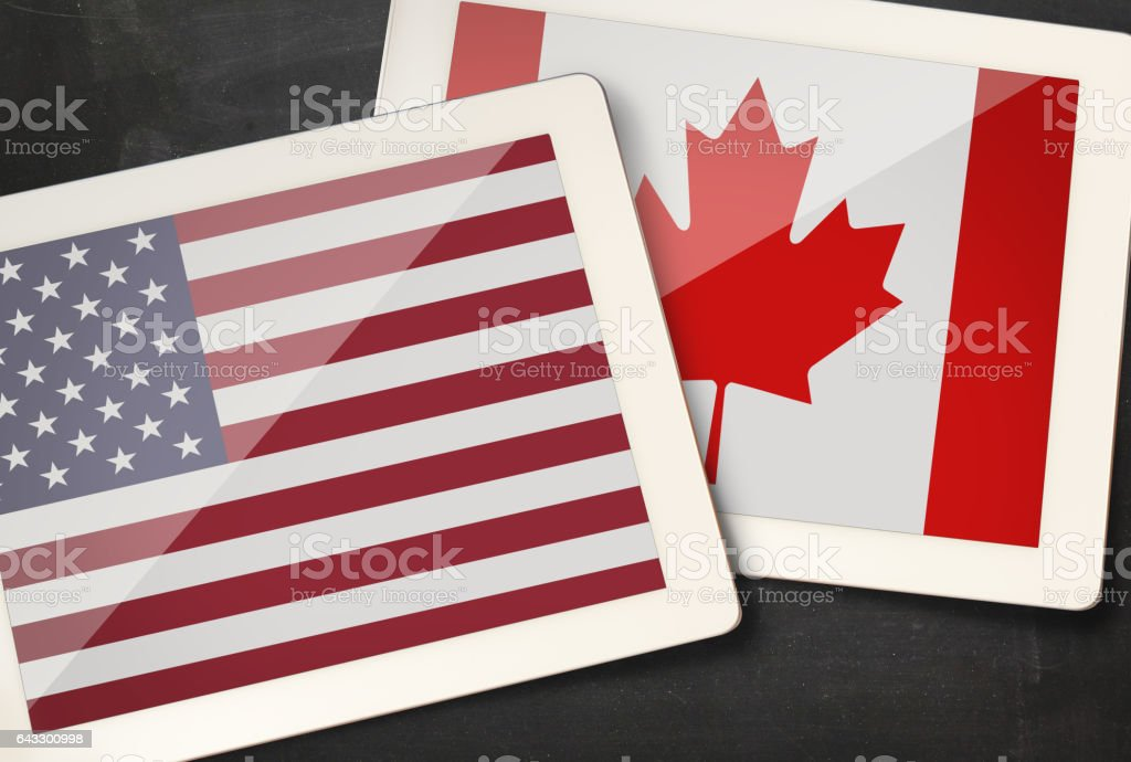 Relationship between USA and Canada stock photo