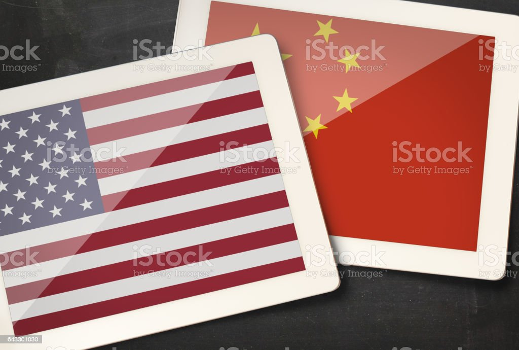 Relationship between USA and China stock photo