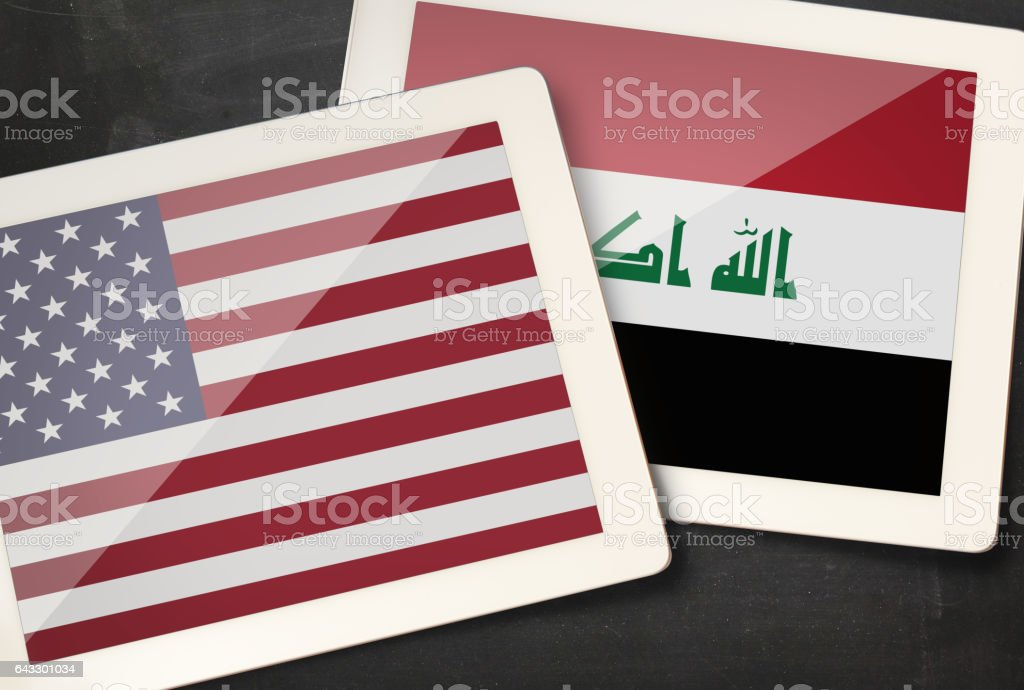 Relationship between USA and Iraq stock photo