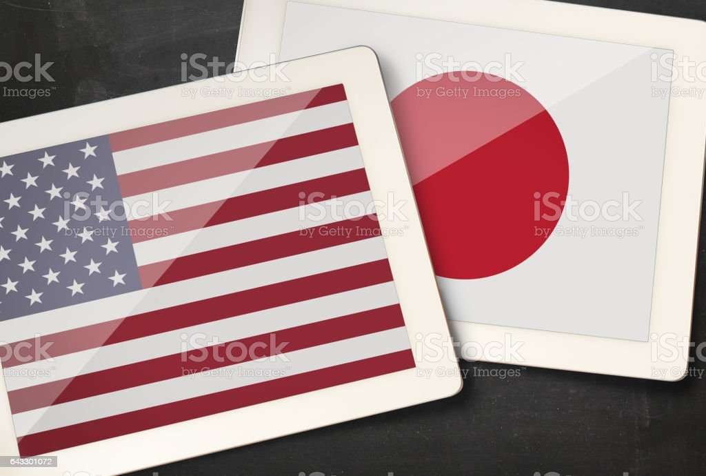 Relationship between USA and Japan stock photo