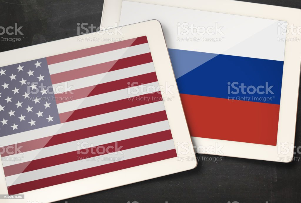 Relationship between USA and Russia stock photo