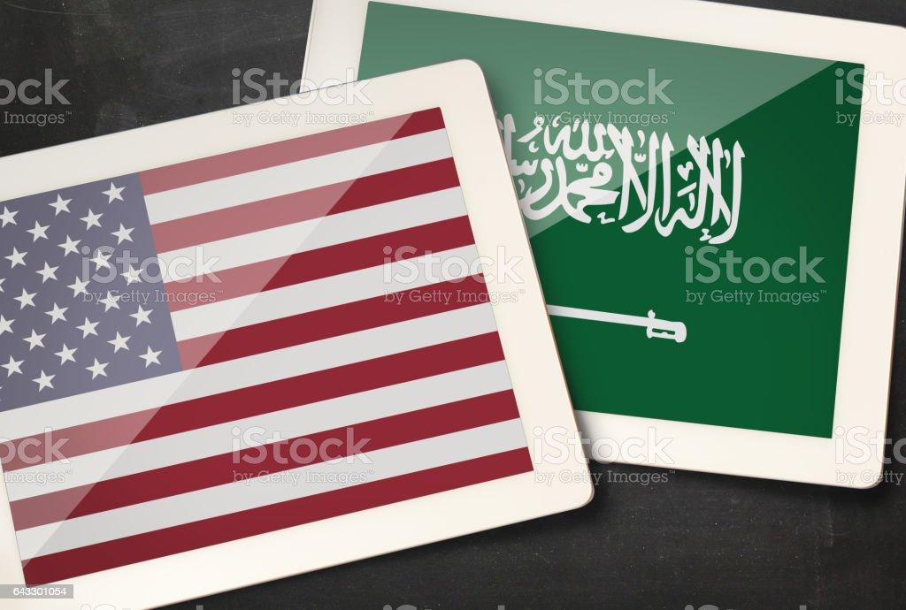 Relationship between USA and Saudi Arabia stock photo