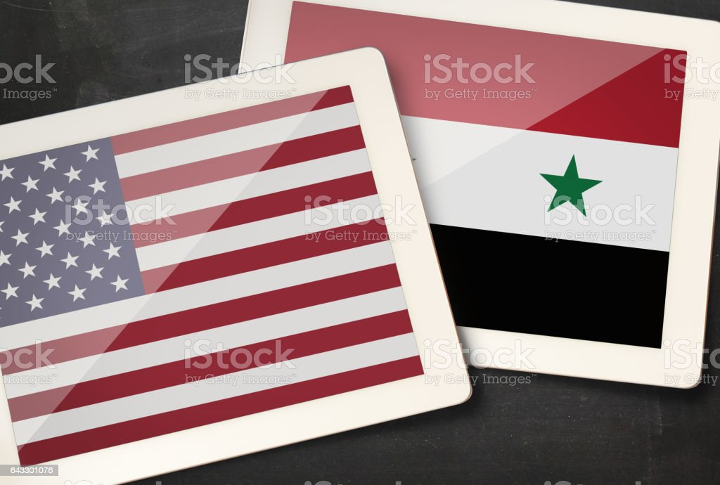 Relationship between USA and Syria stock photo