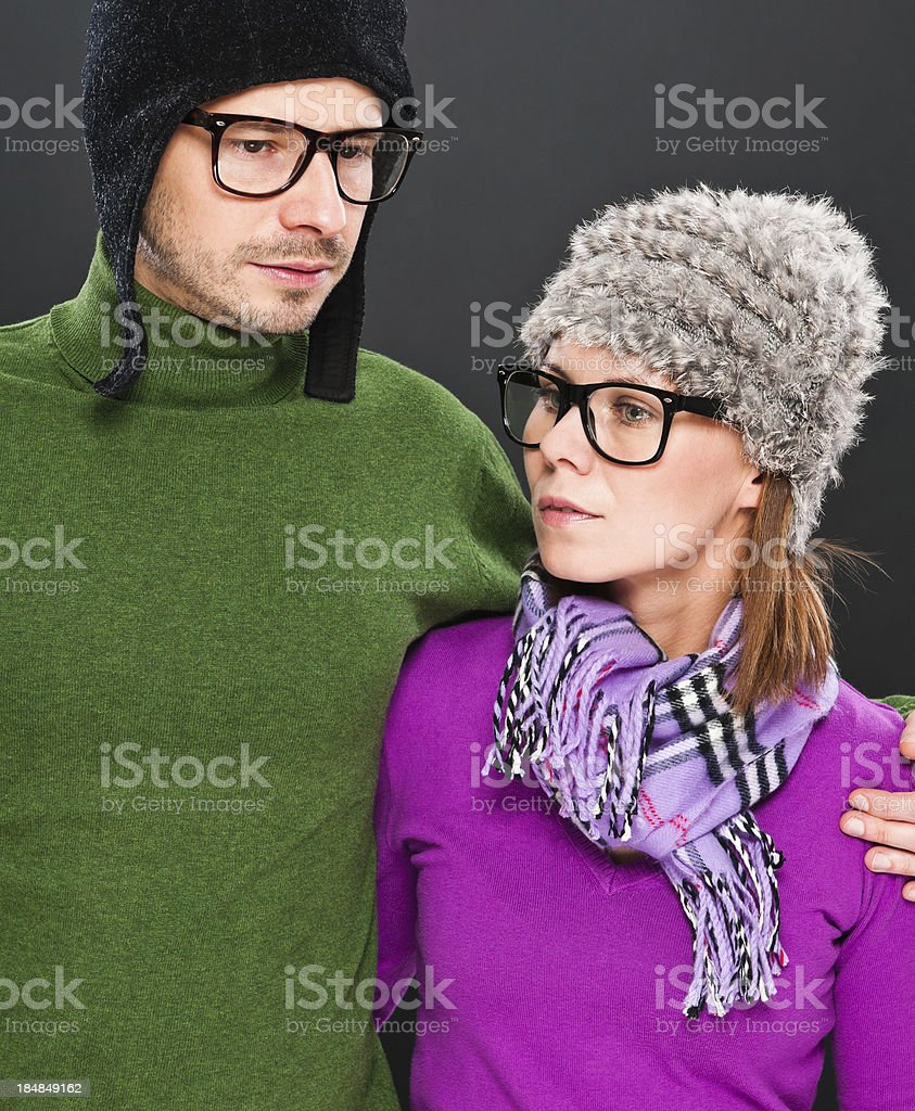 'Relationship difficulties, 30 years old couple in autumn clothes' stock photo