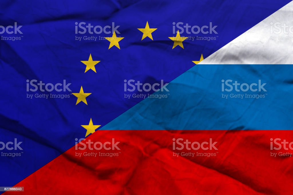 Relationship European Union-Russia flags paper background stock photo