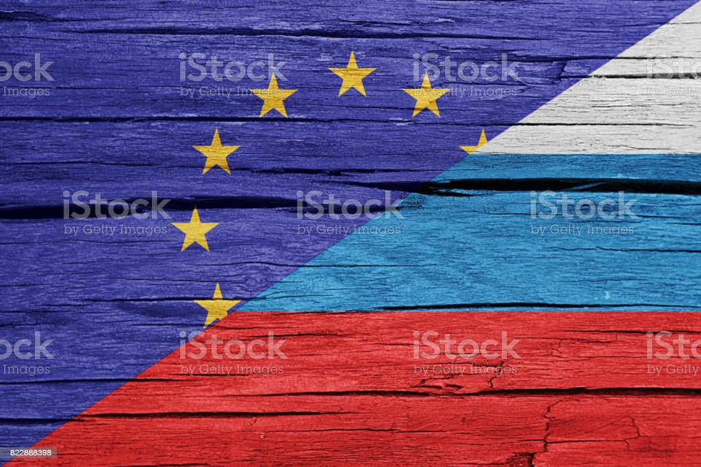 Relationship European Union-Russia flags wood background stock photo